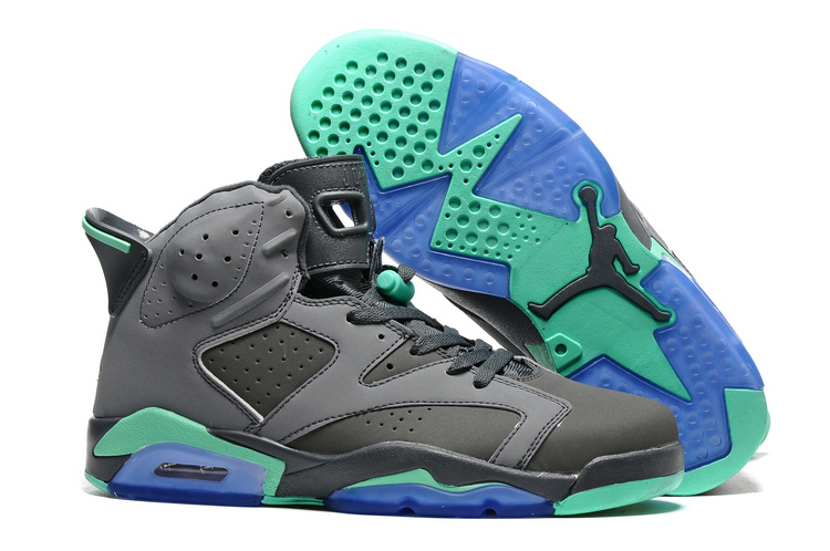 New Air Jordan 6 Grey Green Blue Sole Shoes