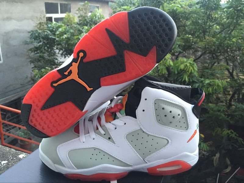 New Air Jordan 6 Hare White Grey Red Shoes