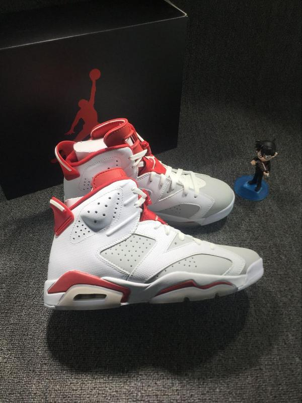 New Air Jordan 6 Hare White Red Shoes