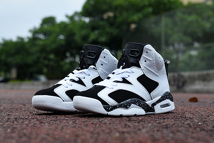 New Air Jordan 6 Oreo Black White For Kids