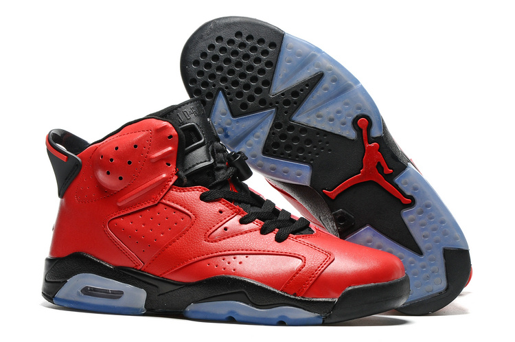 New Air Jordan 6 Red Black Blue Sole Shoes