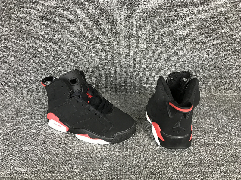 New Air Jordan 6 Retro Black Red Shoes For Kids