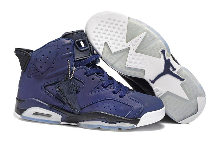 New Air Jordan 6 Retro Dark Blue White Shoes
