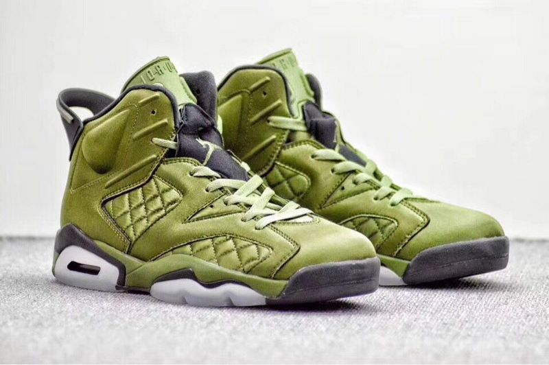 New Air Jordan 6 Retro Flying Jacket Green Black Shoes