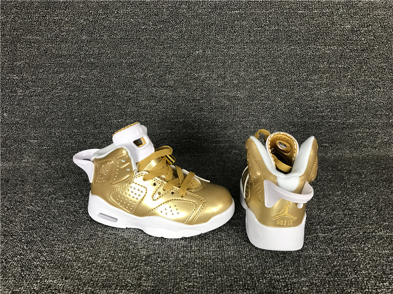 New Air Jordan 6 Retro Gold White Shoes For Kids
