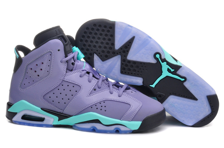 New Air Jordan 6 Retro Light Purple Green Black Shoes