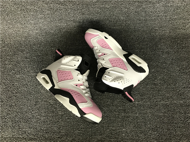 New Air Jordan 6 Retro Pink White Black Shoes For Kids