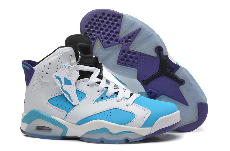 New Air Jordan 6 Retro White Bbay Blue Shoes