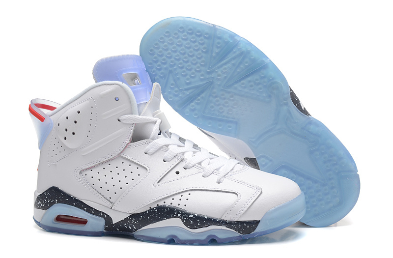 New Air Jordan 6 Retro White Black Baby Blue Shoes