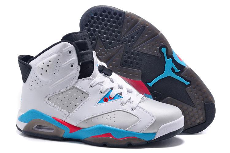 New Air Jordan 6 Retro White Blue Red Black Shoes