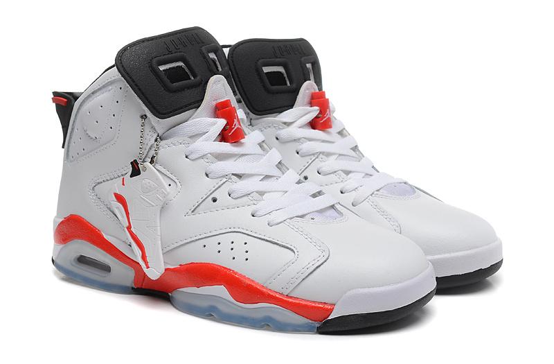 New Air Jordan 6 Retro White Red Shoes