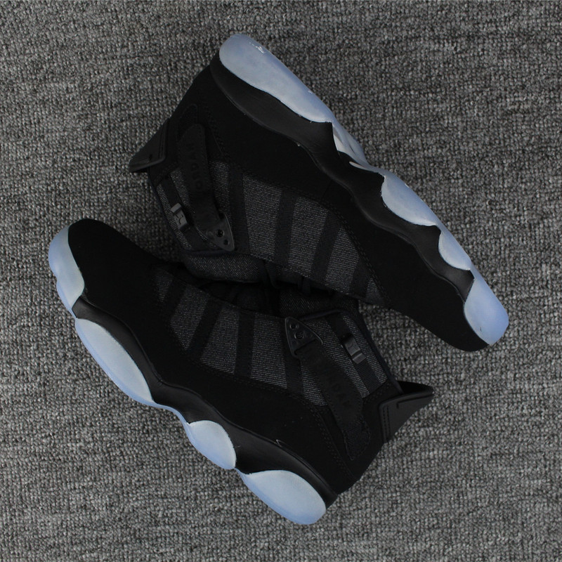 New Air Jordan 6 Rings All Black Ice Blue Sole Shoes