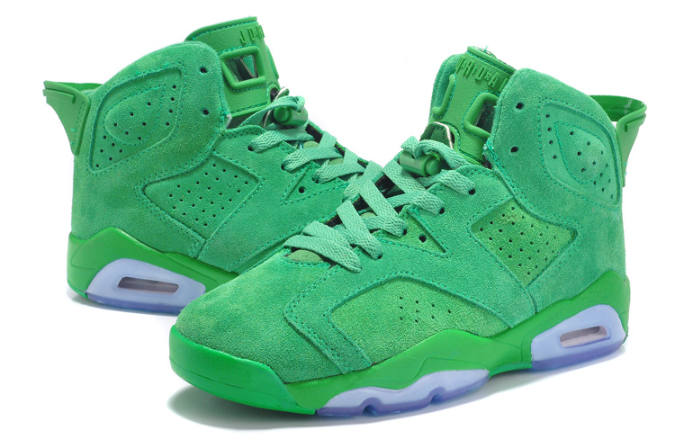 New Air Jordan 6 Suede All Green Shoes