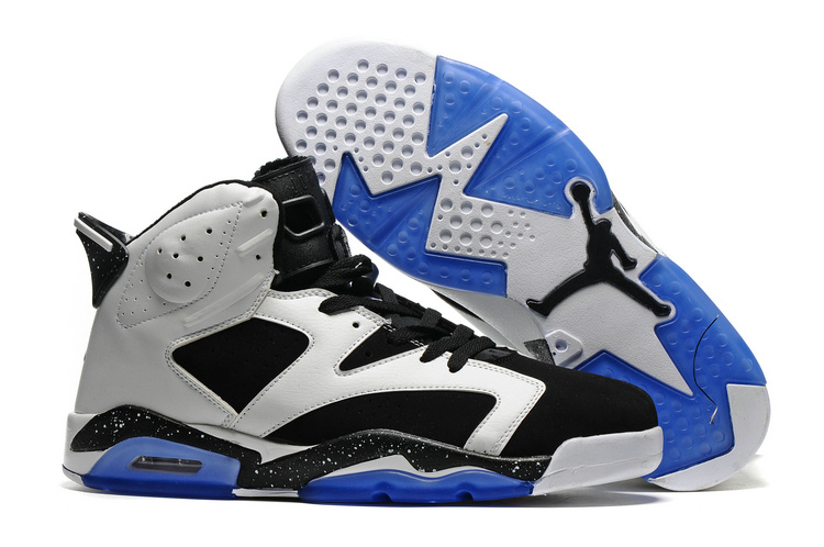 New Air Jordan 6 White Black Blue Sole Shoes