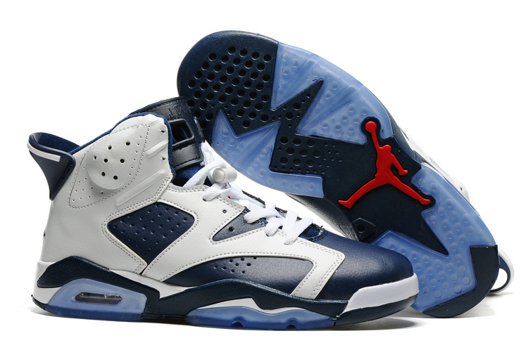 New Air Jordan 6 White Blue Blue Sole Shoes