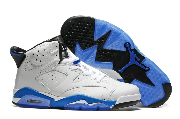 New Air Jordan 6 White Blue Sole Shoes