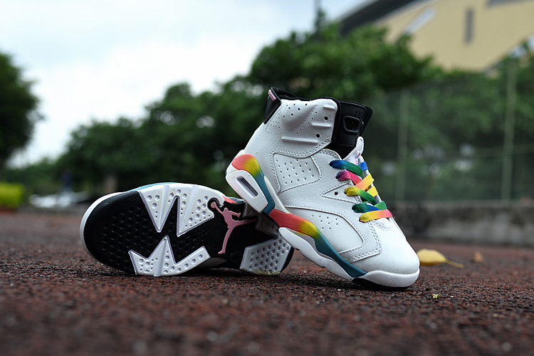 New Air Jordan 6 White Colorful For Kids