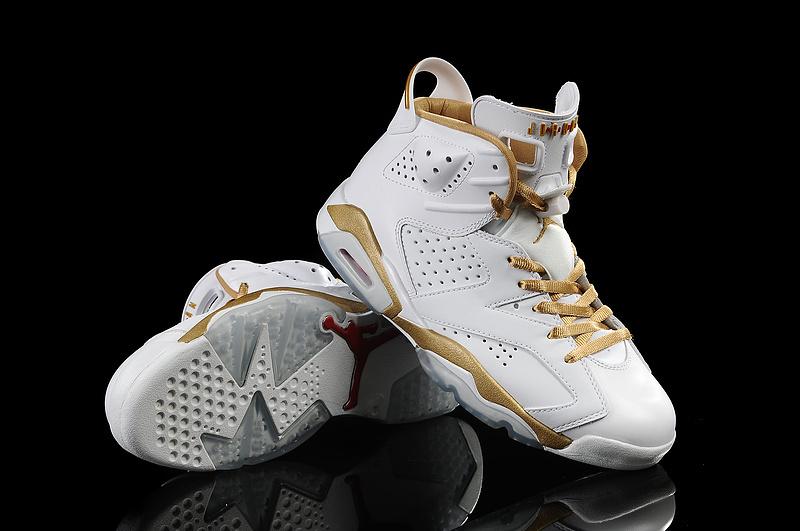 New Air Jordan 6 White Gold Retro Shoes