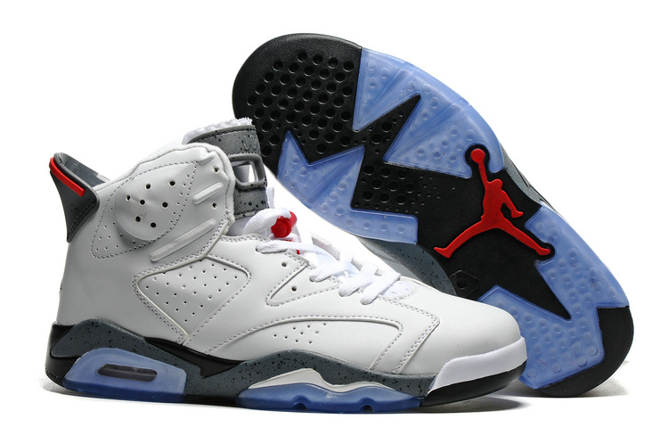 New Air Jordan 6 White Grey Blue Sole Shoes