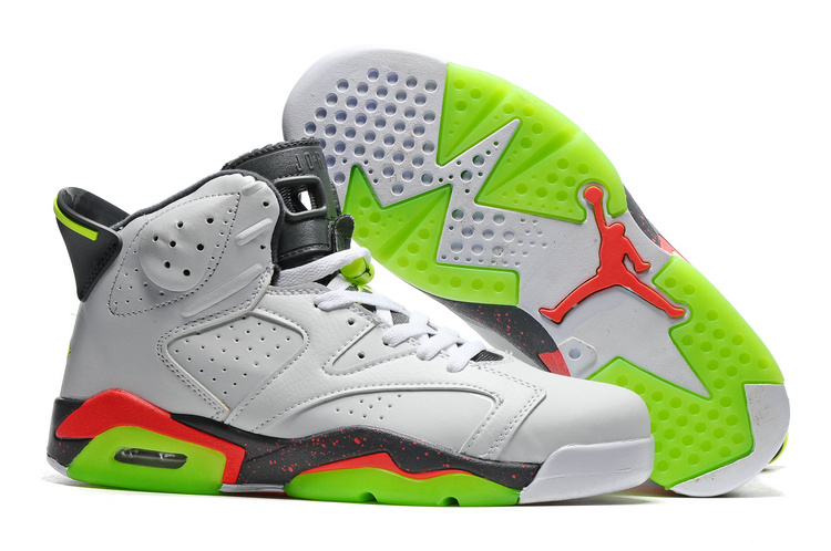 New Air Jordan 6 White Grey Fluorscent Green Sole Shoes