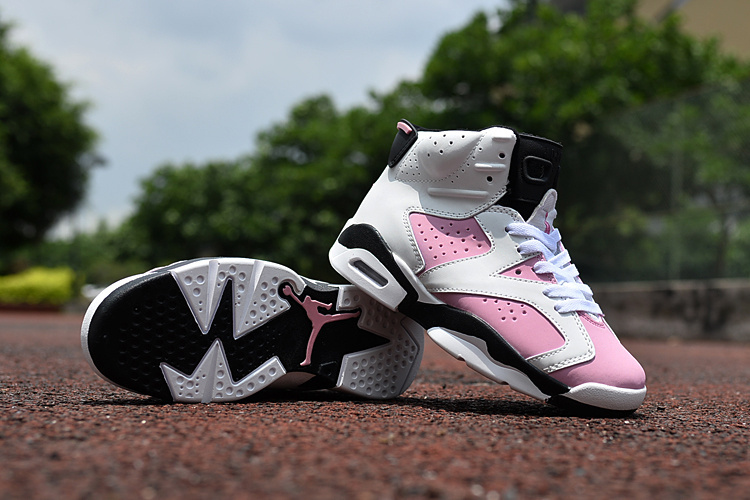 New Air Jordan 6 White Pink Black For Kids