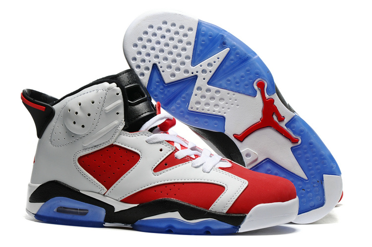New Air Jordan 6 White Red Black Blue Sole Shoes