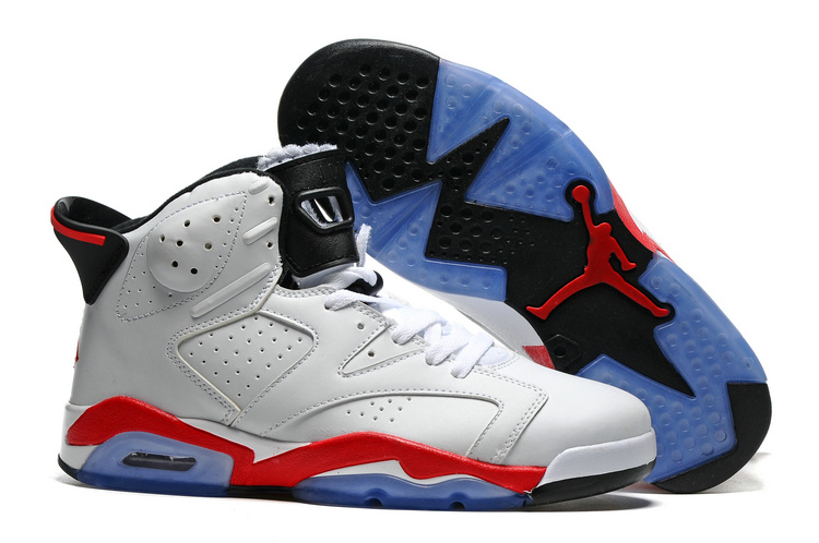 New Air Jordan 6 White Red Blue Sole Shoes