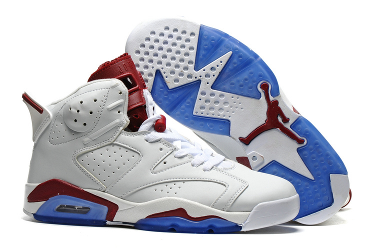 New Air Jordan 6 White Wine Red Blue Sole Shoes