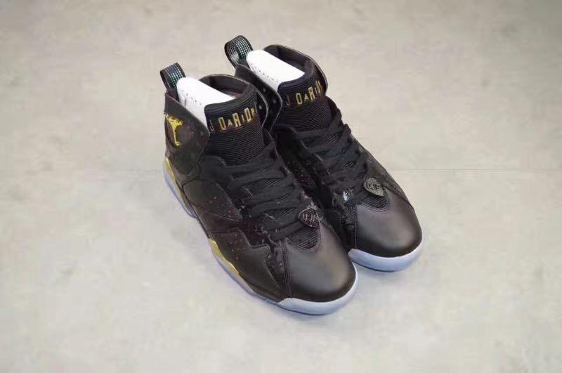 New Air Jordan 7 Charity Black Gold Shoes