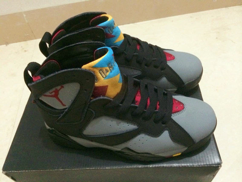 New Air Jordan 7 Grey Black Red Yellow Shoes