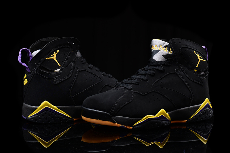 New Air Jordan 7 Retro 2016 Black Yellow Shoes