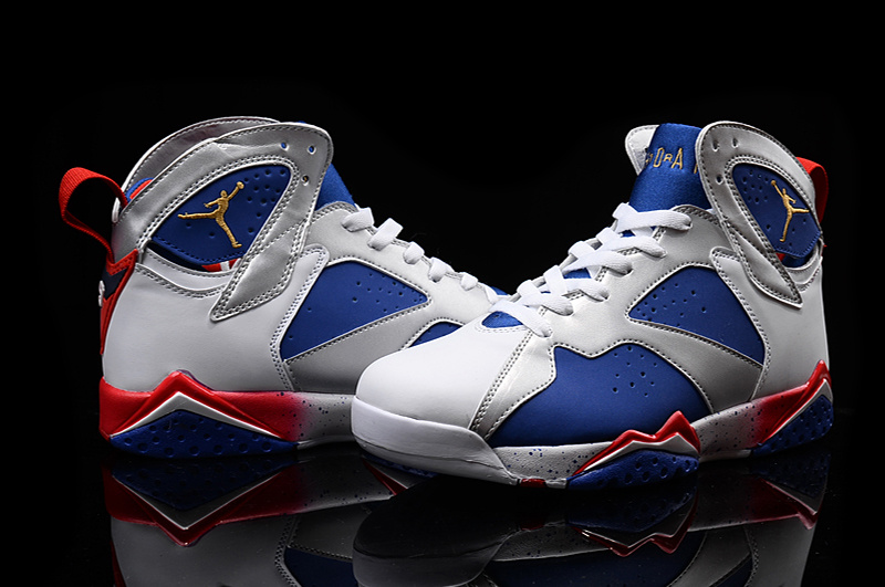 New Air Jordan 7 Retro 2016 White Blue Red Shoes