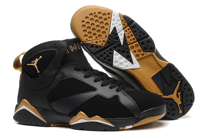 New Air Jordan 7 Retro Black Gold Shoes