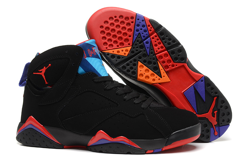 New Air Jordan 7 Retro Black Red Blue Shoes