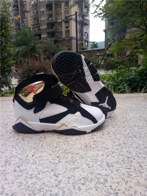 New Air Jordan 7 Retro Black White Gold Shoes For Kids