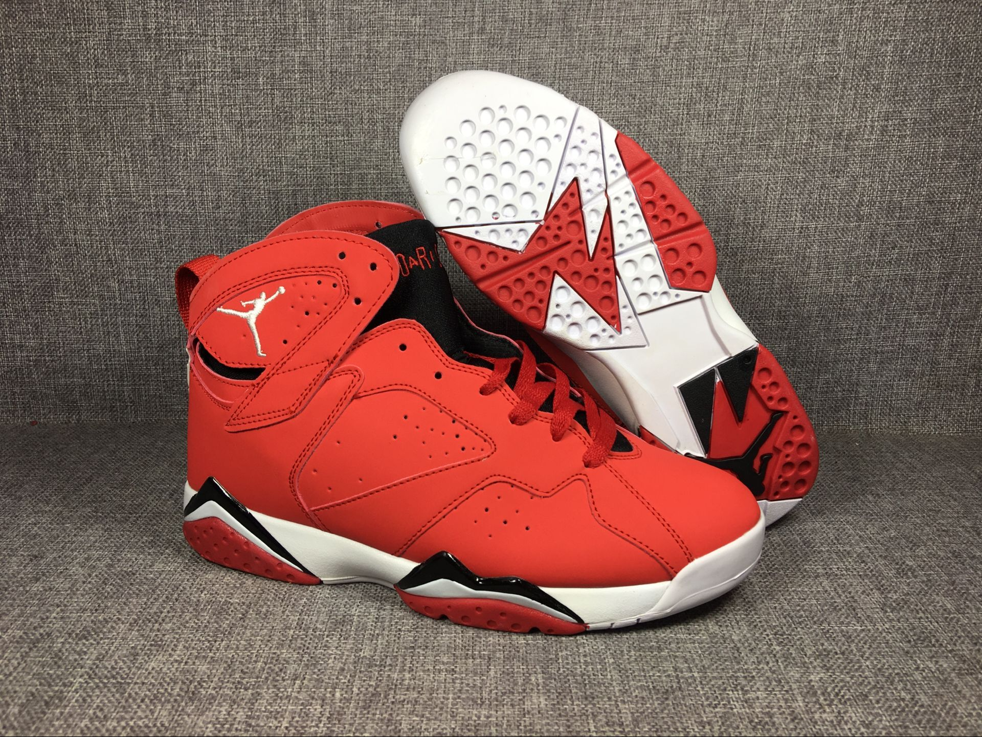 New Air Jordan 7 Retro Red Black White Shoes