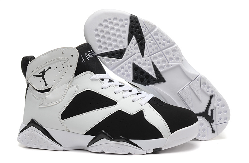 New Air Jordan 7 Retro White Black Shoes