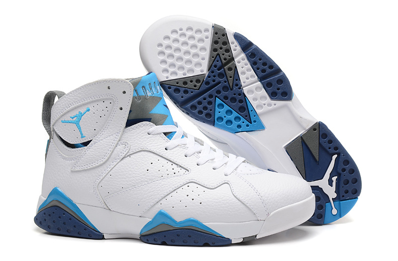 New Air Jordan 7 Retro White Blue Shoes