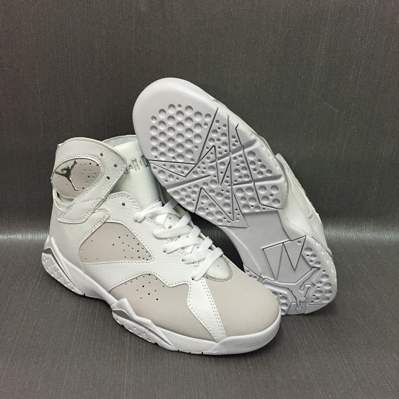 New Air Jordan 7 Retro White Grey Shoes