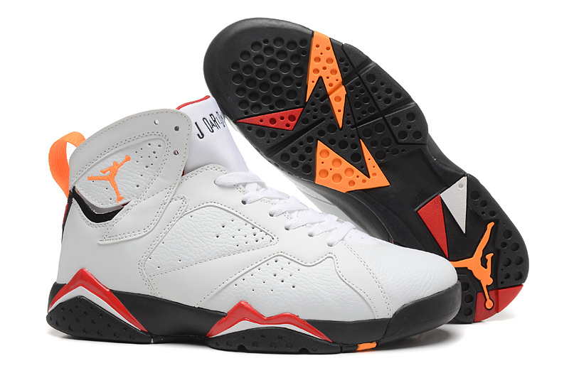 New Air Jordan 7 Retro White Orange Red Black Shoes