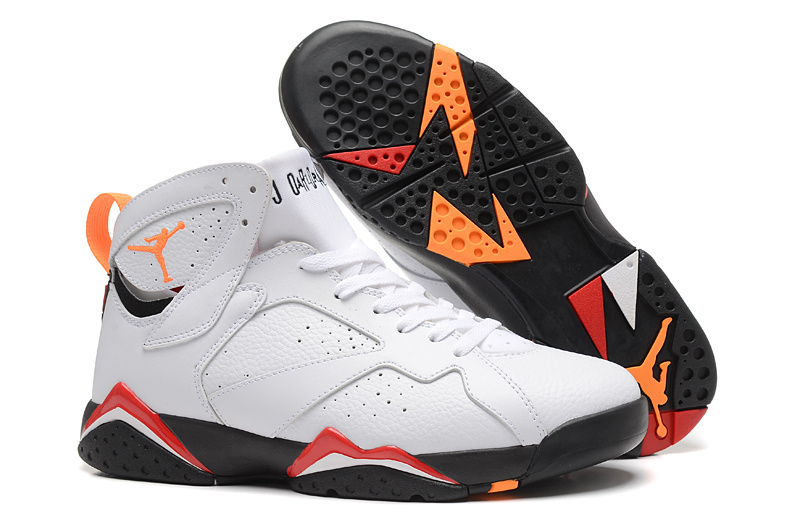 New Air Jordan 7 Retro White Orange Red Shoes