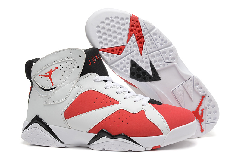 New Air Jordan 7 Retro White Red Black Shoes