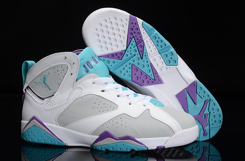 New Air Jordan 7 White Grey Bbaby Blue Purple Shoes For Women