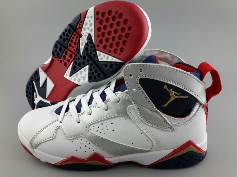 New Air Jordan 7 White Silver Red Blue For Women