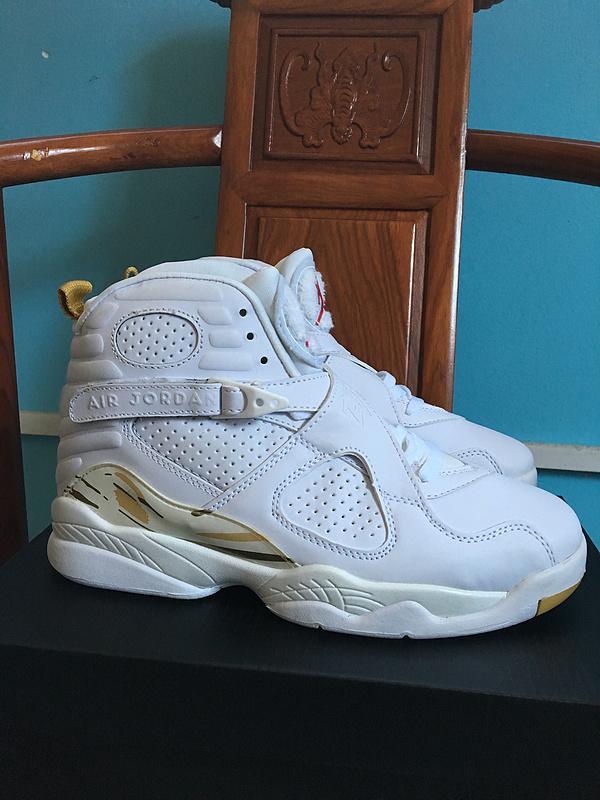 New Air Jordan 8 Retro White Gold Shoes