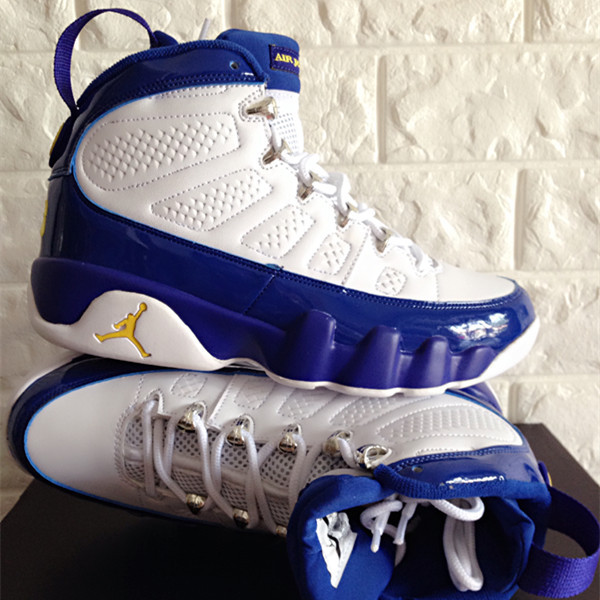 New Air Jordan 9 Retro White Blue Yellow Jumpman Shoes