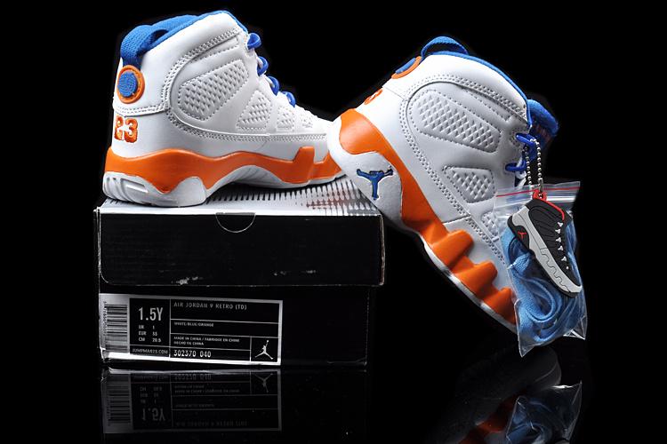 2013 Jordan 9 White Blue Orange For Kids