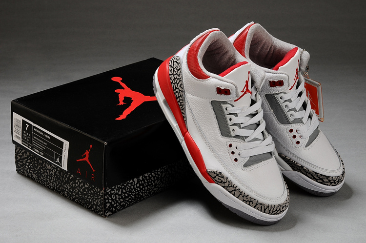 Air Jordan Retro 3 White Grey Red Shoes