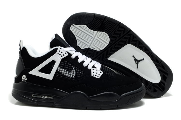 Air Jordan Retro 4 Black White Logo Shoes