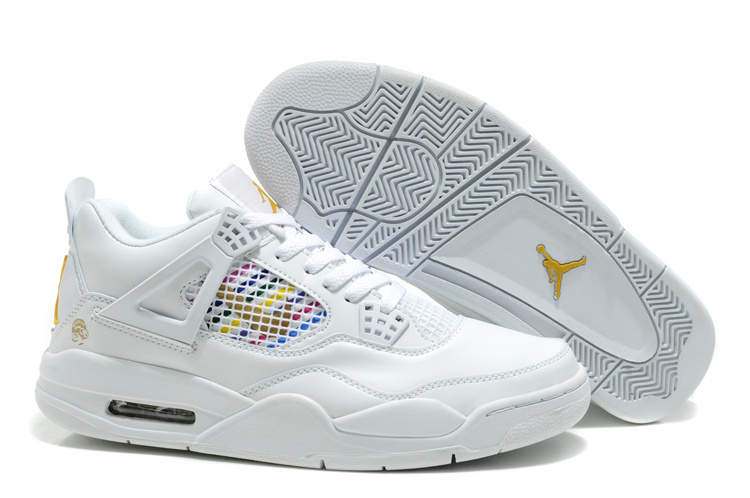 Air Jordan Retro 4 White Yellow Logo Shoes